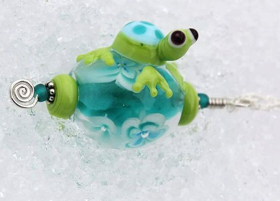 Perched Turtle, Turtle Bead, Glass Turtle, Handmade Glass Turtle, Teal Turtle Necklace, Glass Turtle Necklace, Lampwork Glass Turtle, Beads