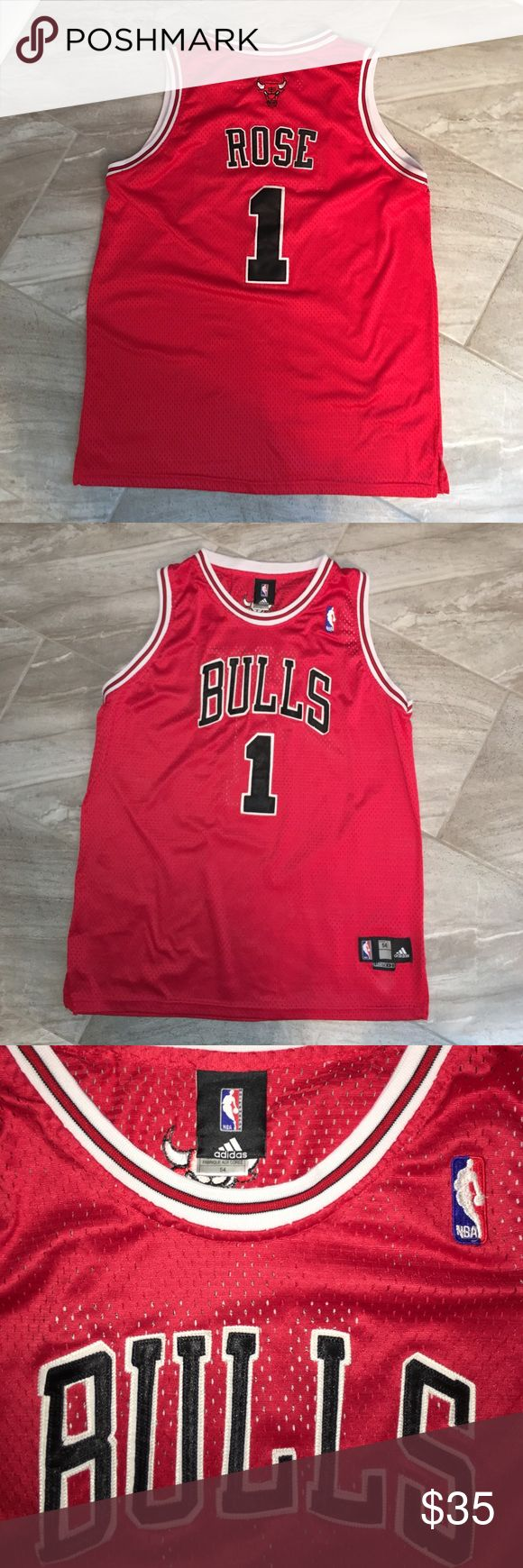 NBA BULLS ROSE jersey NBA BULLS ROSE jersey   Men's Sz 54. Excellent condition! Letters/numbers sewn on Adidas Shirts Tank Tops
