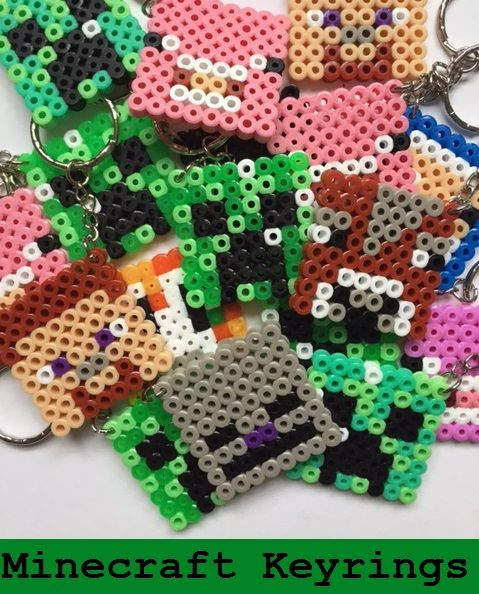 Minecraft keyrings from Hama beads, great for a Minecraft party bag or party favours