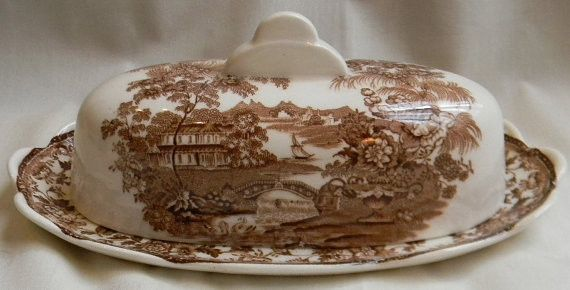 Clarice Cliff signed Covered Butter Dish Swans Roses Vintage Brown Tra