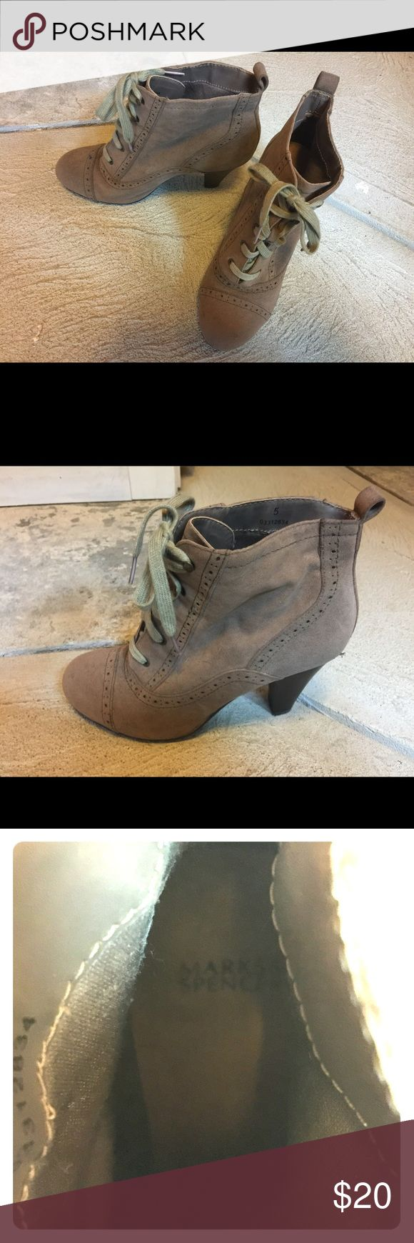 Heeled lacy boot Fun and comfortable laced heeled boot! Barely worn, purchased in the U.K. marks and spencer Shoes Ankle Boots & Booties
