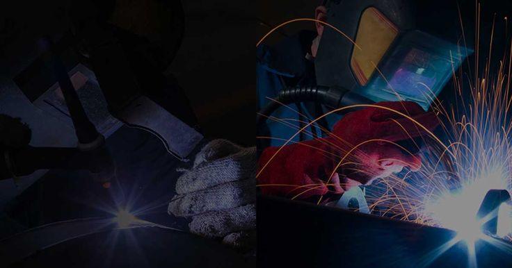 Imagem serviço de Qualificação. Descrição: Imagem do plano de Fundo da Inspesolda serviço de Qualificação, nesta imagem temos dois processos de soldagem, sendo o da esquerda o processo de soldagem TIG e o da direira o processo de soldagem MIG/MAG.