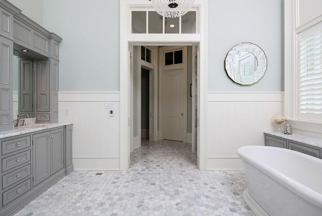 Classic Coastal-Inspired Family Homewall color (SW Sea Salt) and beautiful hex marble floor tiles.