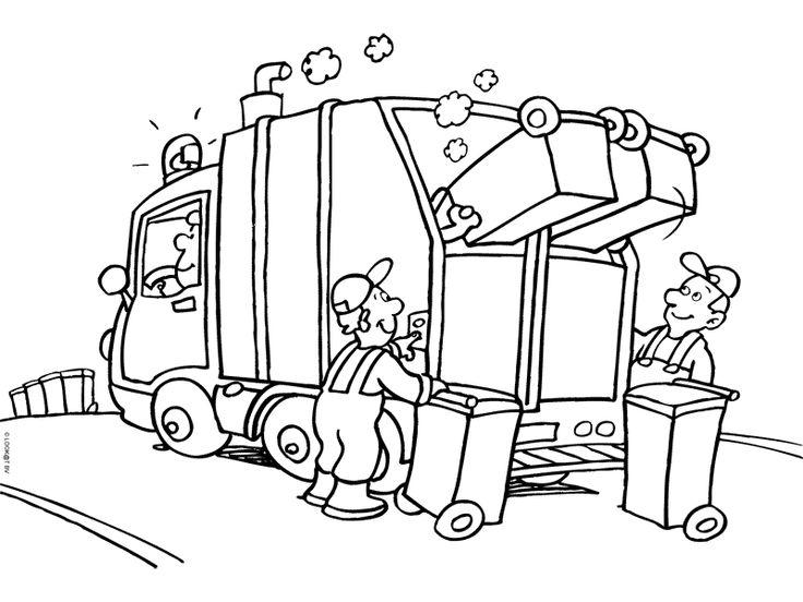 Beroepen - kleurplaat vuilniswagen
