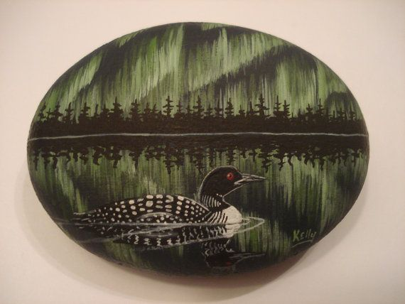 Loon and Northern Lights hand painted on a by wildstonepainter, $18.00