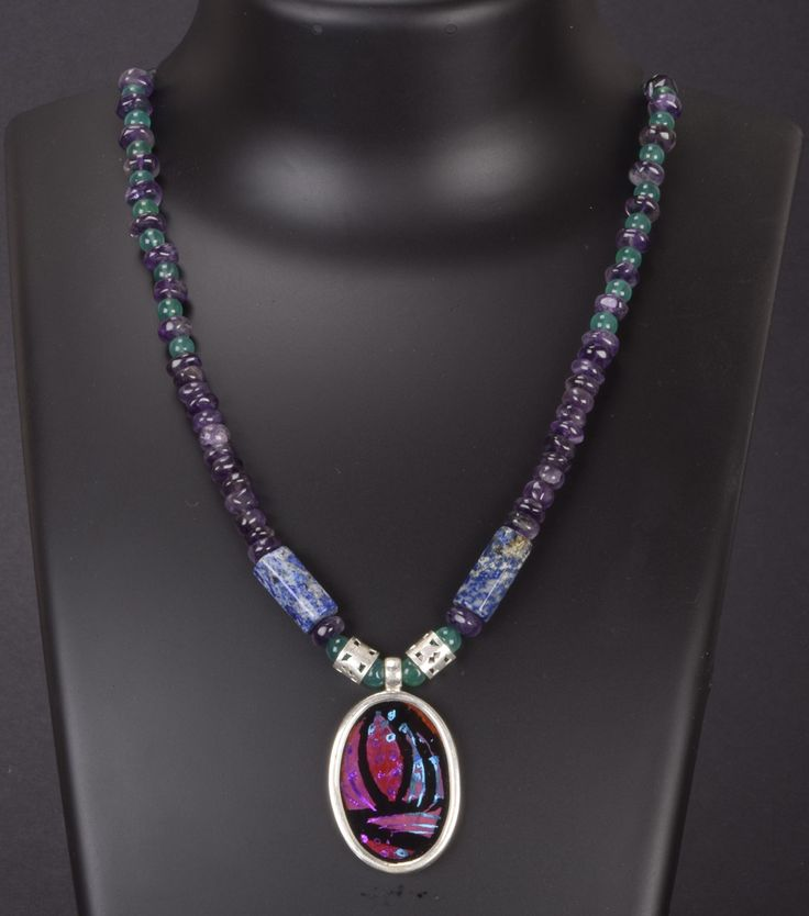 Shubha Handpainted Silver Amethyst and Onyx Necklace A1155 - Jewellery / Necklace - Parisera
