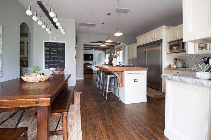 butcher block kitchen island, modern farmhouse kitchen
