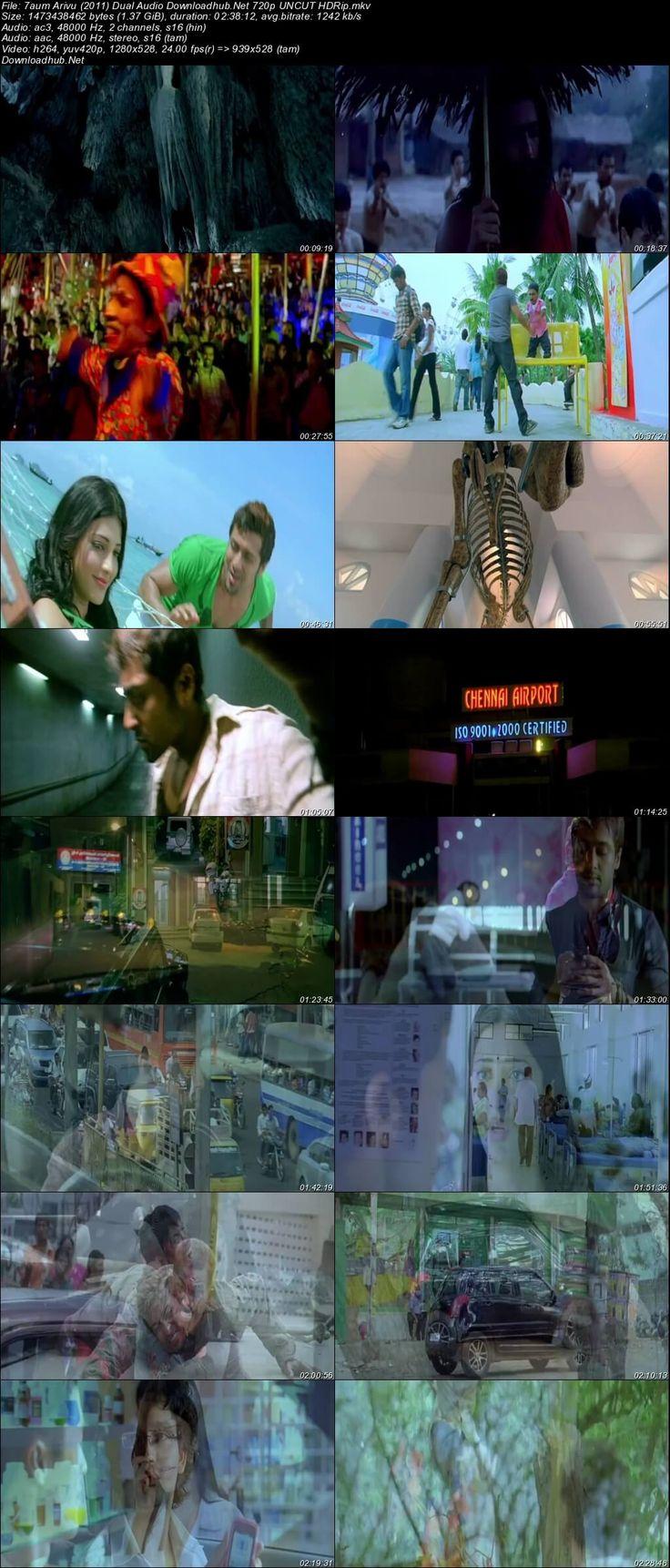 Screenshot Of 7 Aum Arivu 2011 Dual Audio 720p HDRip [Hindi - Tamil] - UNCUT Resumeable Single Free Download Links Watch Online Free At Downloadhub.Net