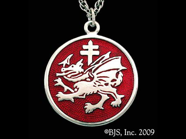Our interpretation of Vlad the Impaler's Order of The Dragon Pendant finished with your choice of enamel colors. Available in sterling silver, 14k gold and 14k white gold.