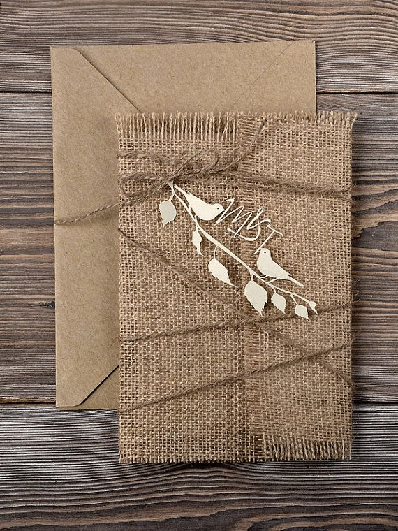 Custom listing 40 INVITATIONS Rustic Wedding Invitation, Laser cut Invitation, Recycling Eco Invitation, Birds in Love Invitation