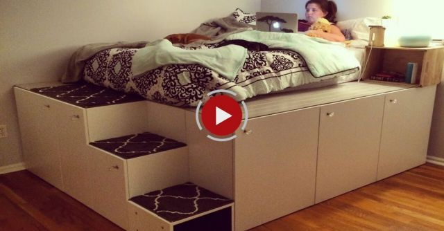 IKEA Hack Platform Bed Awesome dad makes cool platform bed for his daughter using IKEA storage units. You must check this out!