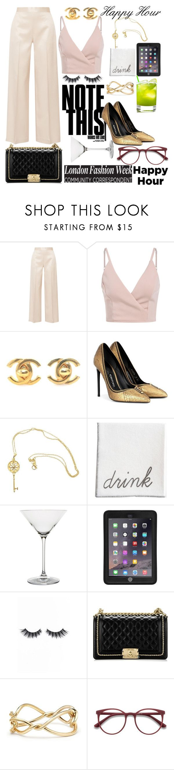 """Happy Hour"" by agsabins ❤ liked on Polyvore featuring The Row, Chanel, Tom Ford, Tiffany & Co., Riedel, Griffin, Violet Voss, David Yurman and EyeBuyDirect.com"