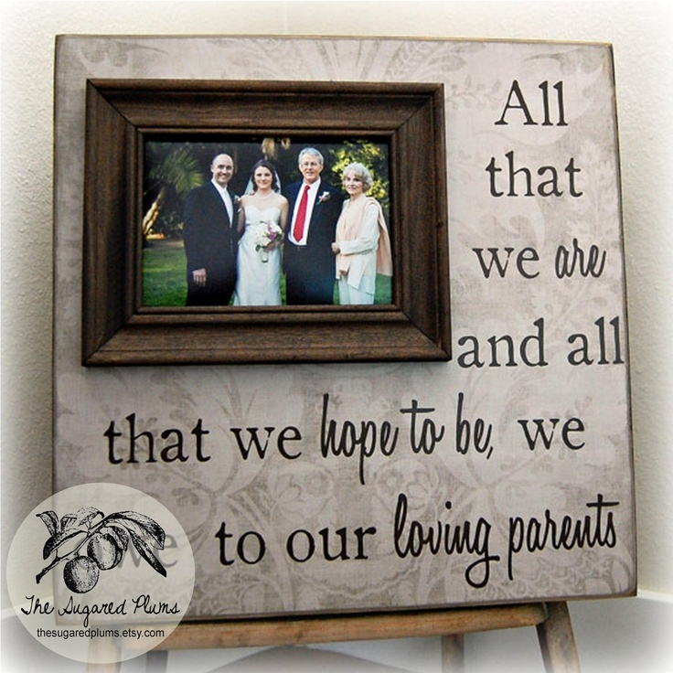 Parents Gift Personalized Picture Frame Custom 16x16 -All That We Are- Wedding Anniversary Love Father of Mother of Song Vows Thank You. $75.00, via Etsy.