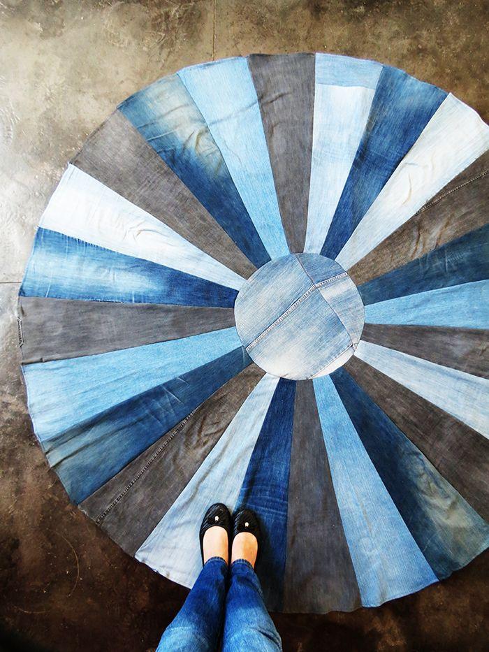 Blog Ohoh - artesanías de bricolaje y: alfombra DIY con vaqueros viejos
