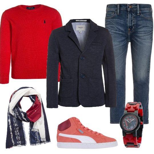 Per un ragazzo giovane, un look particolare per imparare ad avere un proprio stile. Jeans skinny abbinati a giacca jarman e a maglione african red. Mettiamo le sneakers alte rosa antico anziché le classiche stringate, una sciarpa multicolore e l'orologio Lego Star Wars. Vi distinguerete e tutte le ragazze guarderanno solo voi.