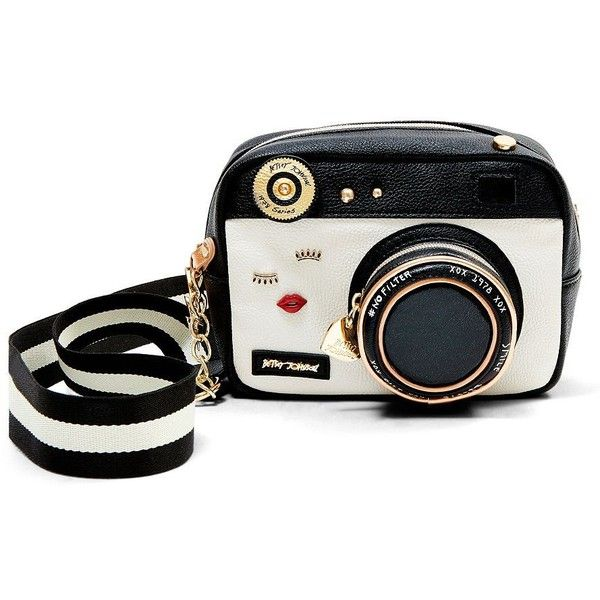 Betsey Johnson Camera Crossbody (€80) ❤ liked on Polyvore featuring bags, handbags, shoulder bags, purses, black, betsey johnson crossbody, crossbody purse, man bag, handbags cross body and handbags shoulder bags