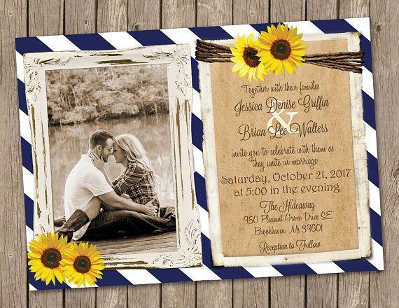 Navy and Sunflower Wedding Invitation, Sunflower Wedding invitation, Navy Blue, country wedding invitation, Rustic Invitation