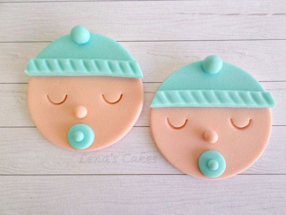 Baby Boy Shower Cupcake Fondant Toppers, Gender Reveal Party, Baby Shower Decor, 1st Birthday Party, Blue Edible Toppers, Baby Face- set 12
