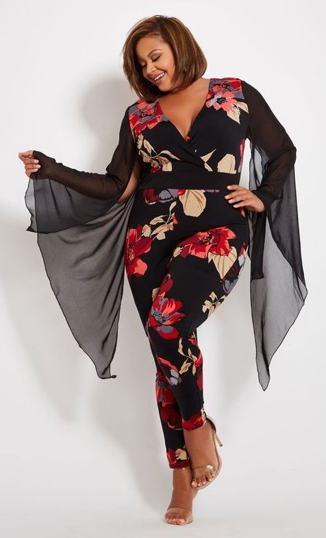58f0aaf7fde Black Floral Print Angel Sleeve Plus Size Jumpsuit - You ll love this black  floral jumpsuit with a sexy surplice neckline and a sheer angel sleeve and  ...