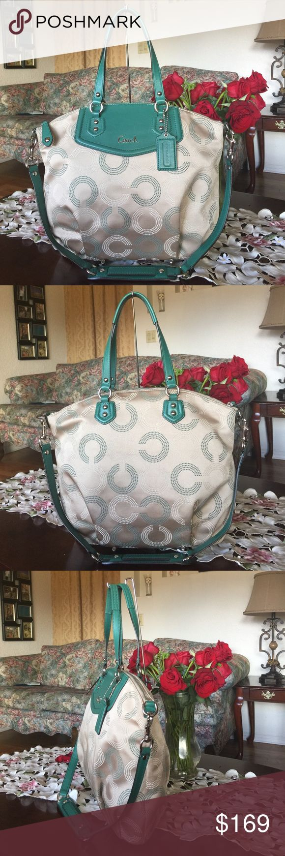 "Coach Ashley Dotted OP ART North South Satchel Coach  25183 Ashley Dotted OP ART North South Satchel ,retail: $458 ,color:Green/white/khaki with silver tone hardware..this bag is used but in great condition..from smoke/pet free home..100% authentic!!!  Dotted OP ART  fabric with leather trim Inside zip, cell phone and multifunction pockets Zip-top closure, fabric lining Double leather straps 6"" drop Detachable strap with 14"" drop for shoulder  Measurement: (approx) 15"" (L) x 13"" (H) center x…"