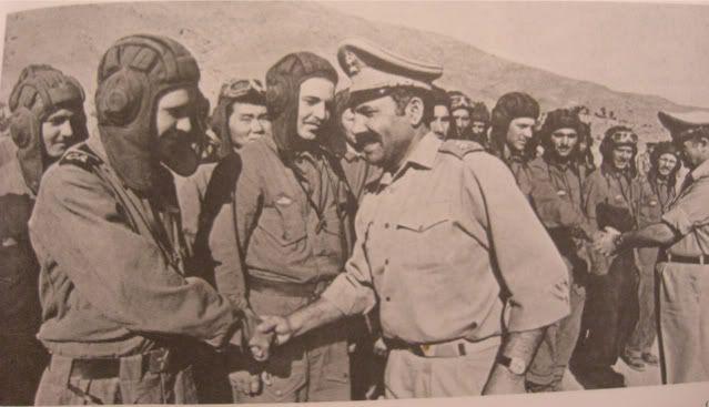Afghan Army officers congratulating Soviet tankmen.