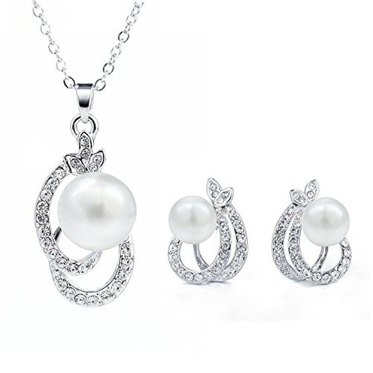 Cheap Woman Jewelry Set Gold Plated Pearl Pendant Necklace Earring  #Morenitor