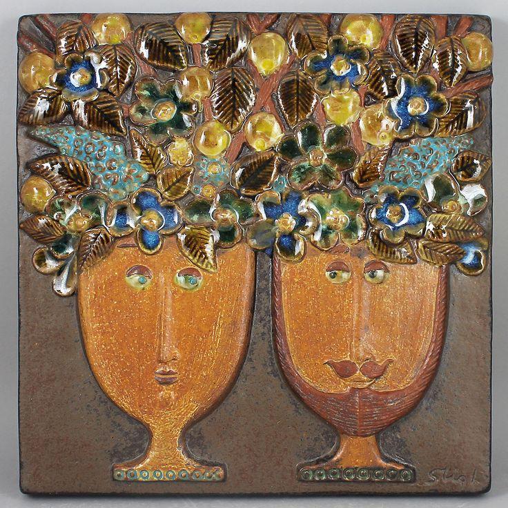 "Stig Lindberg (1960s) Wonderful Wall Plaque ""The Flower Couple"""