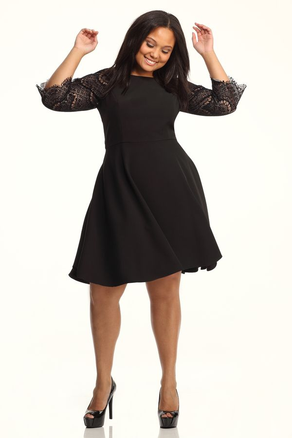 Lace Black skater dress plus size pictures forecasting dress in autumn in 2019