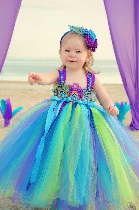 """""""O Presleigh"""" Pavão inspirado vestido da menina flor"""