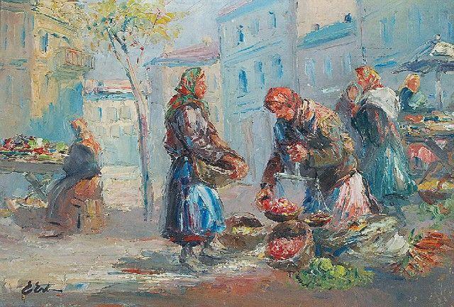 Erno ERB (1890-1943)  Przekupki lwowskie olej, tektura; 34,5 x 50 cm;