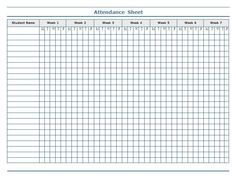 classroom charts printable | Guidelines for Attendance Sheet