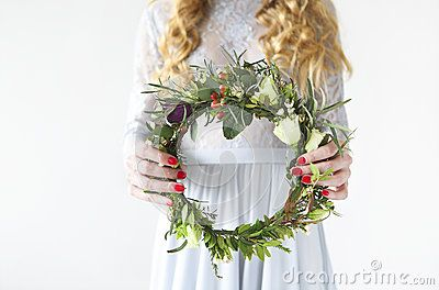 Bride With Spring Flower Wreath In Her Hands - Download From Over 60 Million High Quality Stock Photos, Images, Vectors. Sign up for FREE today. Image: 88122450