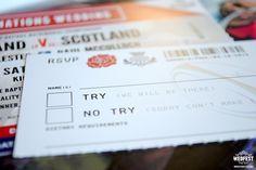 rugby wedding ticket invite http://www.wedfest.co/england-vs-scotland-rugby-ticket-wedding-invites/