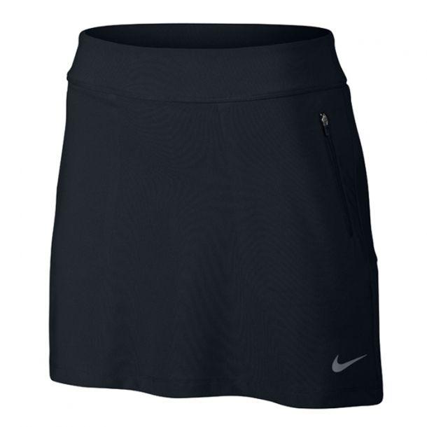 Falda Nike golf No-Sew Skort Ladies.. Falda pantalón Nike Golf para mujeres, con cintura elástica ajustable y diseñado con la tecnología Dri-Fit, para mantenerla seca y cómoda mientras juega a golf. Falda ligera y muy cómoda con short interior. Fabricada con Polyester y Spandex.