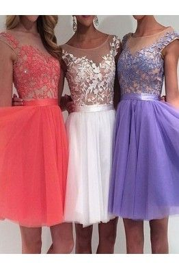 553737e9a94 A Line Homecoming Dress Sleeveless Above Knee Appliques Tulle