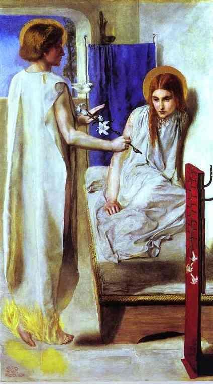 """Ecce Ancilla Domini (""""The Annunciation"""")  - Dante Gabriel Rossetti, 1850"""
