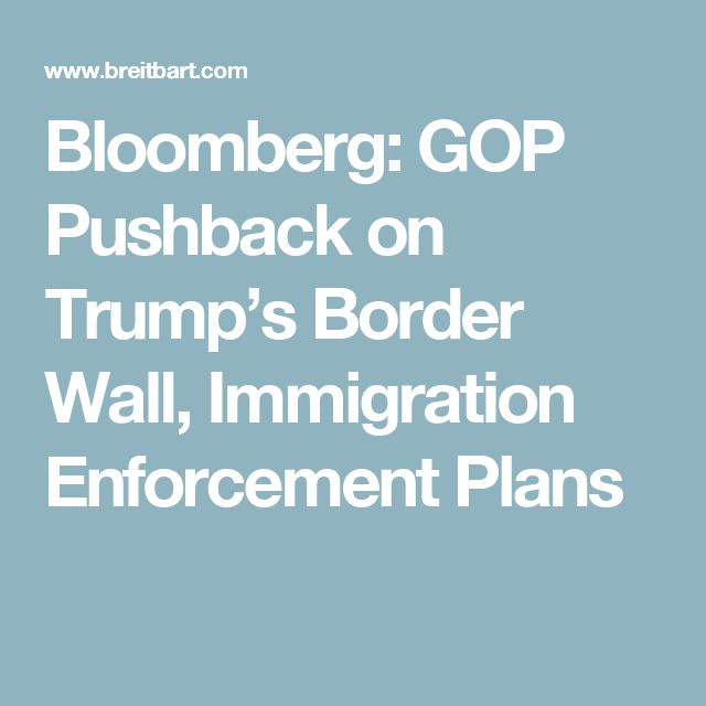 Bloomberg: GOP Pushback on Trump's Border Wall, Immigration Enforcement Plans