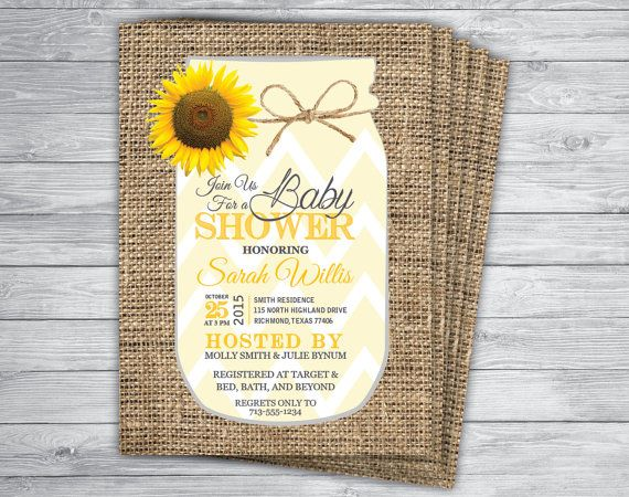 mason jar sunflower any eventcolor country chic vintage rustic yellow chevron unique rehearsal dinner graduation invitation printed