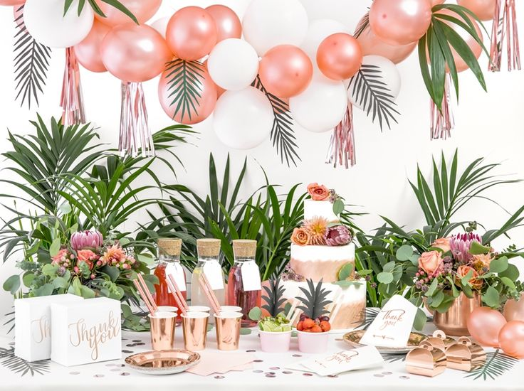 Sweet table Tropical Rose Gold #anniversaire #bapteme #babyshower – Tropical Birthday Party