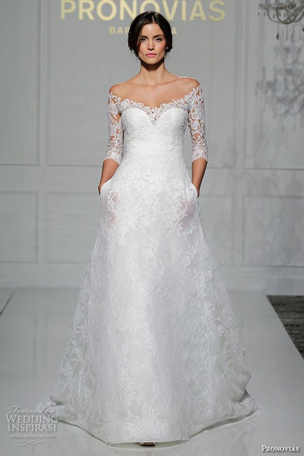 beautiful off the shoulder 3 quarter sleeves a line wedding dress with pockets style varnava