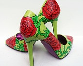 Hand painted heels - Lemon and Lime Twist  green court shoes- UK 6/ US 8.5/ EU 39  - Kezbirdie. £66.00, via Etsy.