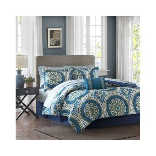 Modern Contemporary Bed in a Bag Paisley Blue Bedding Set...
