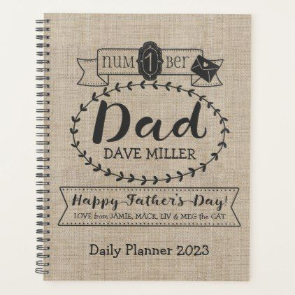 Make Your Own Fathers Day Number 1 Dad Monogram Planner - fathers day best dad diy gift idea cyo personalize father family