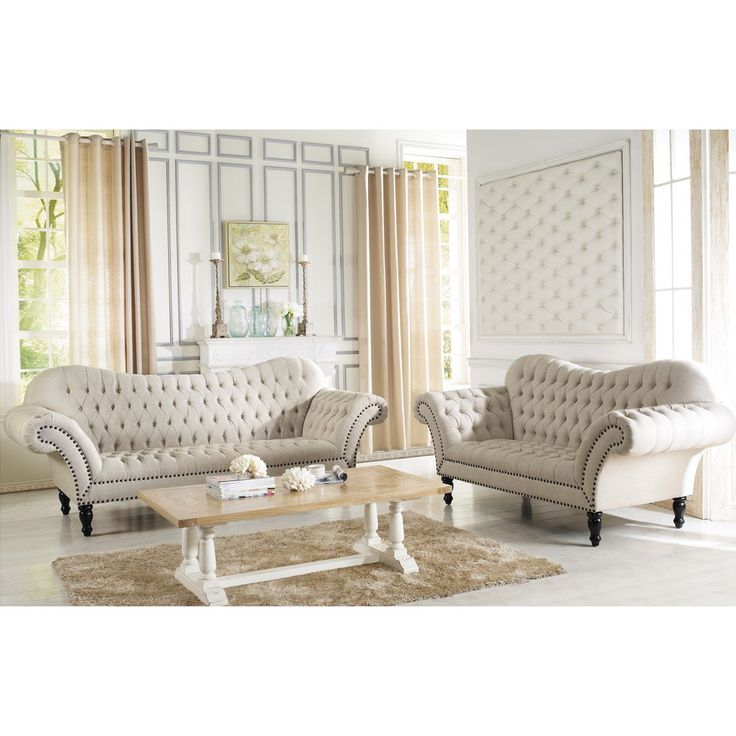 Baxton Studio Bostwick Beige Linen Classic Victorian Sofa Set | Overstock.com Shopping - Big Discounts on Baxton Studio Living Room Sets