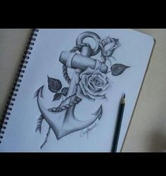 Anchor tattoo with rose