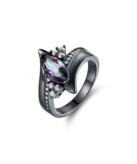 Rainbow Topaz & Black Marquise-Cut Engagement Ring