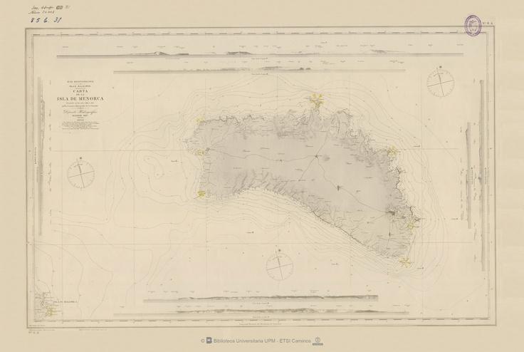 Carta de la Isla de Menorca Material cartográfico : Mar Mediterráneo : Islas Baleares levantada en los años 1894 y 1895 por la Comisión Hidrográfica de la península ; E. Fungairiño la grabó ; J. Becerril grabó la letra / (1930)