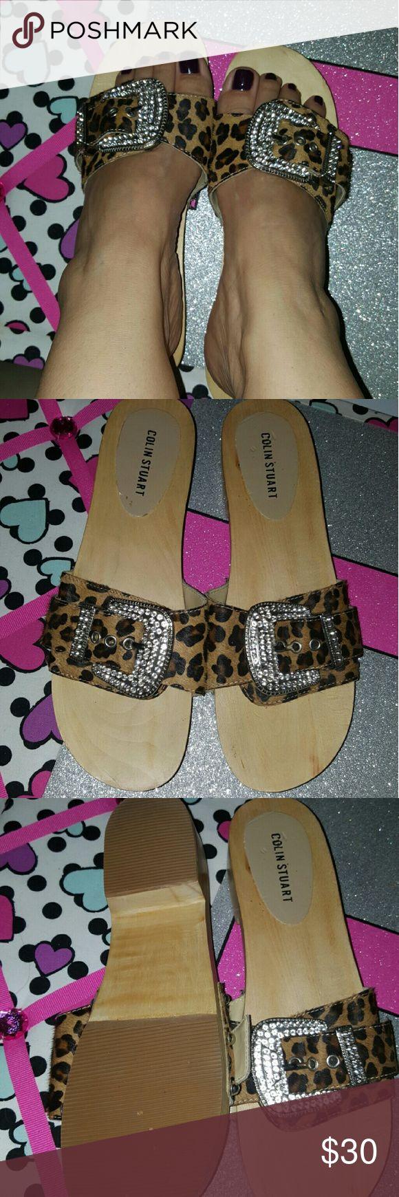 Cute!!! Colin Stuart shoes, size 7.5,? New Cute!!! Colin Stuart shoes, size 7.5,? New never used, bought them at Victoria's Secret catalog, animal hide and wood soles Colin Stuart Shoes Sandals