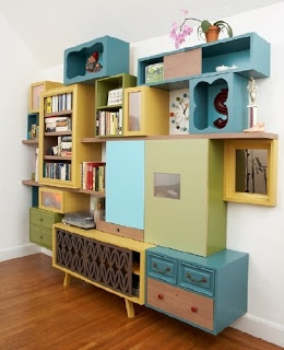 Thomas Wold has been featured in a lot of magazines and websites. This talented artist puts together reclaimed materials into a quirky and colorful piece of furniture. Aside from upcycling, he also designs cabinetry for kitchen and bathroom. Fractured Fairy Tales shelving set