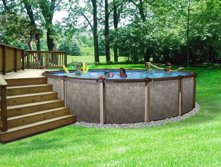 "Riviera Metal Wall Above-Ground Swimming Pool – 18′ Round and 54"" Deep. Description from abovegroundwaterpools.biz. I searched for this on bing.com/images"